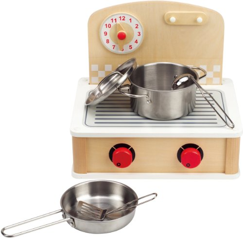 Hape Tabletop Cook and Grill Kid's Wooden Kitchen Play Set with Accessories (Best Eco-Friendly Option)