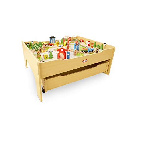 Little Tikes Real Wooden Train Table Set