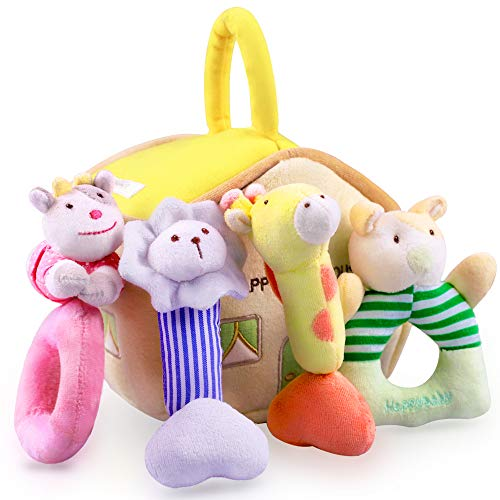 iLearn 4 Plush Baby Soft Rattle Set