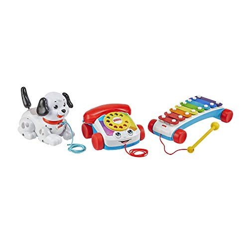 Fisher-Price Pull-Along Basics Gift Set, 3 classic pull toys for infants and toddlers ages 12 months and older