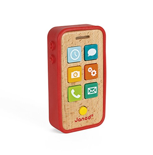 Janod Beech Wood Sound & Light Toddler Cell Phone