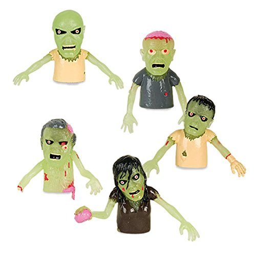 Set of 5 Glow in the Dark Zombie Finger Puppets Halloween Zombies