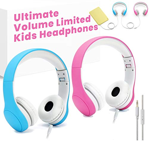 KPTEC [Volume Limited] Kids Safety Foldable On-Ear Headphones with Mic