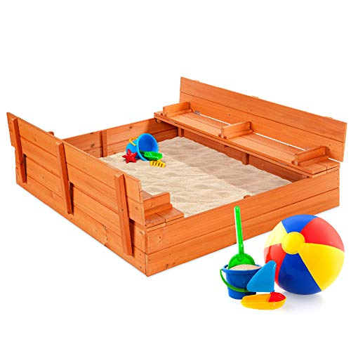 Best Choice Products 47x47-Inch Kids Wooden Outdoor Sandbox - Best Quality Option