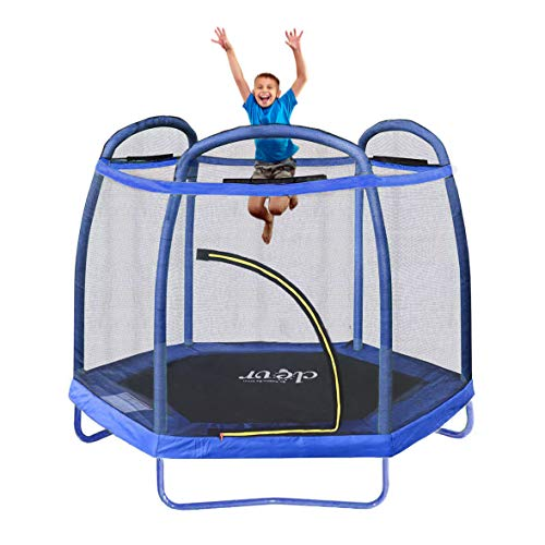 Clevr 7ft Kids Trampoline with Safety Enclosure Net & Spring Pad