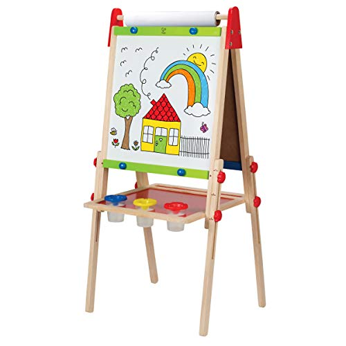Award-Winning Hape All-in-One Wooden Kid's Art Easel with Paper Roll and Accessories