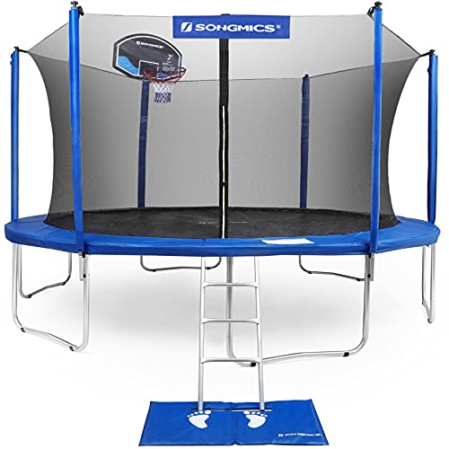 SONGMICS Trampoline with Enclosure, Basketball Hoop, and Backboard Net