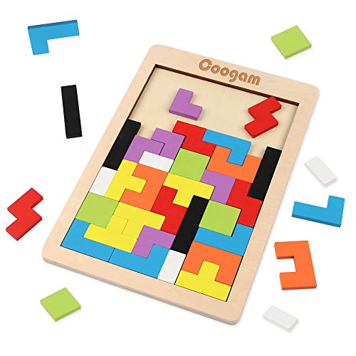 Coogam Wooden Tetris Puzzle Brain Teasers