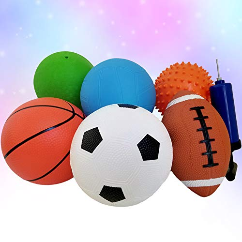 ToysOpoly Set of 6 Sports Balls with 1 Pump
