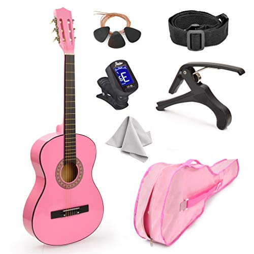 Pink Wood Guitar with Case and Accessories Gift