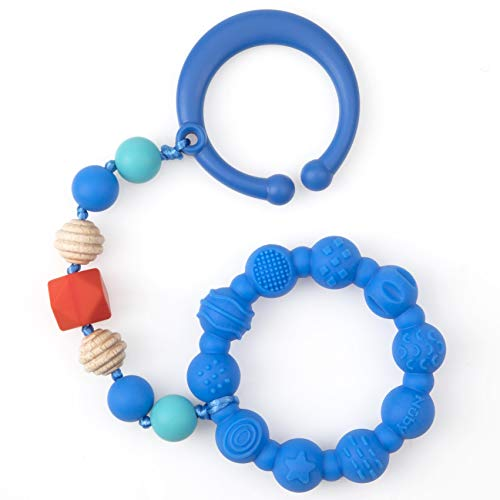 Nuby 100% Silicone Teether Ring with Silicone Beaded String and Clip