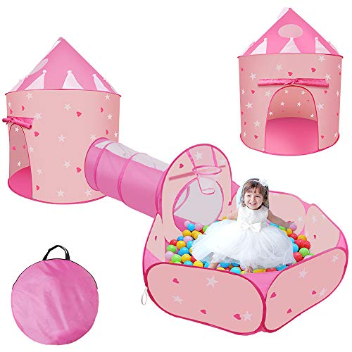Felicigeely 3 pcs Kids Ball Pit Tent and Tunnel