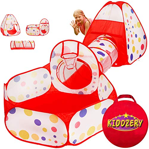 Kiddzery 3pc Kids Play Tent Crawl Tunnel and Ball Pit