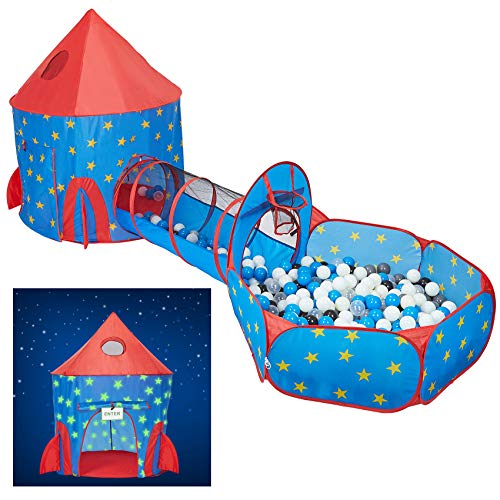 HAN-MM 3pc Play Tent Ball Pit with Tunnel Stars Glow in The Dark
