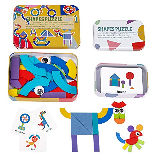LiKee Wooden Pattern Shapes Puzzle