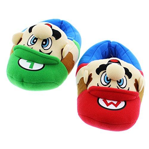 SUPER MARIO Brothers Boys Plush Slippers (Medium / 13-1, Mario Luigi Blue)