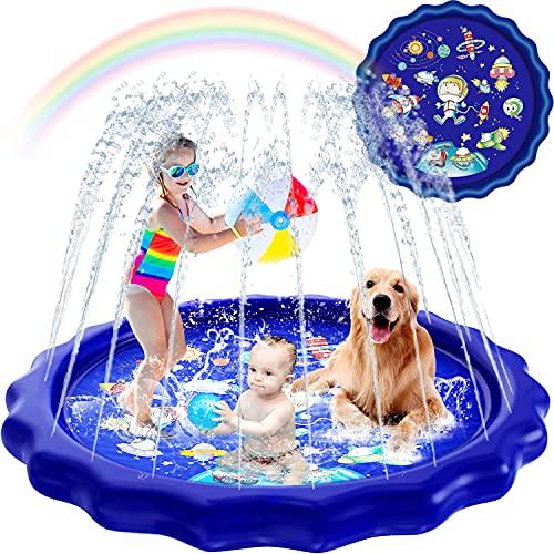 Splash Pad Sprinkler for Kids, 68'' Kids Toys Sprinklers for Outside Backyard 3-in-1 Water Toys Gifts Baby Kiddie Pools Outdoor Games Play Mat Water Sprinkler for Toddlers Kids Stocking Stuffers