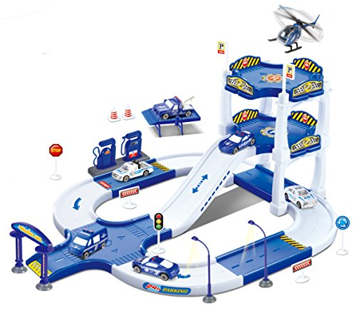 Liberty Imports My First Racing Parking Garage Diecast Police City Station Playset