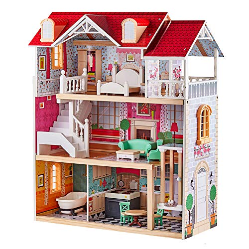 TOP BRIGHT Wooden Dollhouse with Elevator (Best Eco-Friendly Option)