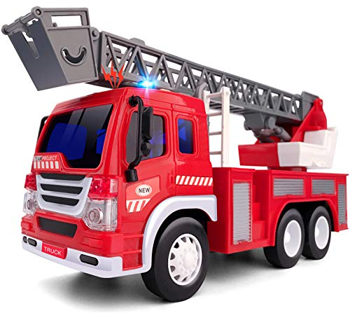 Gizmovine Fire Truck Toy with Lights and Sounds, Extending Rescue Rotating Ladder Pull Back Construction Vehicles