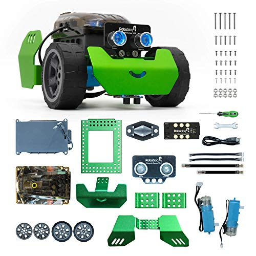 Robobloq STEM Metal Q-Scout Robot Mechanic Kit with Remote Control, Line Tracking, Ultrasonic Sensor, Music Playing for Kids Program Learning of Scratch, Arduino and Python (Basic Version)