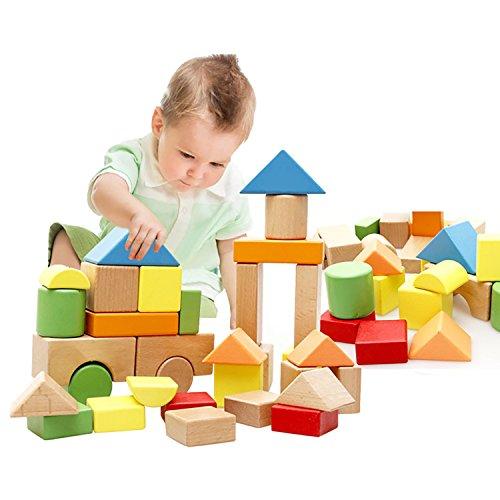 Lewo Large Wooden Blocks Construction Building Toys Set
