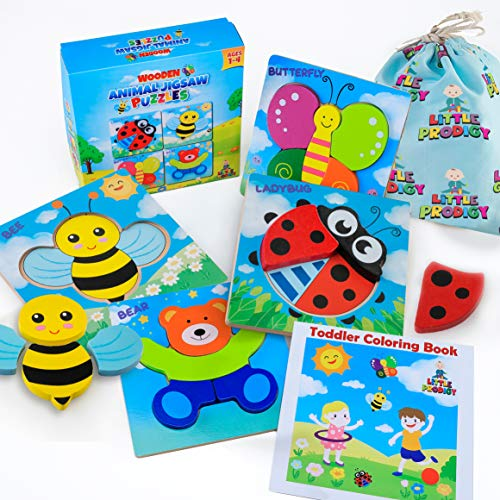 LITTLE GENIUS Wooden Animal Jigsaw Toddler Puzzles (Best Eco-Friendly Educational Toy)