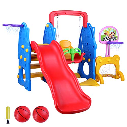LAZY BUDDY 5 in 1 Toddler Slide and Swing Set