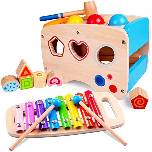 Rolimate Hammering Pounding Toys Wooden Educational Toy Xylophone Shape Sorter