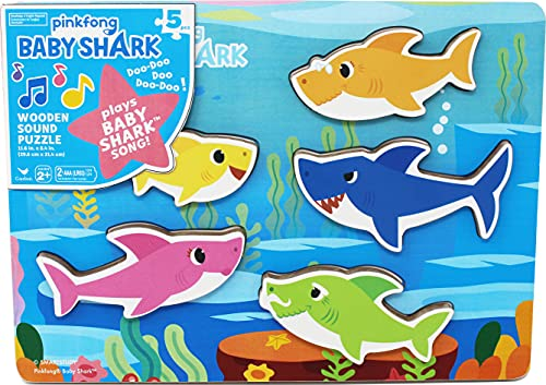 Pinkfong Baby Shark Chunky Wood Sound Puzzle (Best Eco-Friendly Option)