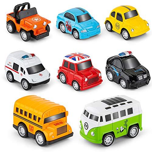 Metal Pull Back Cars, 8 Pack Mini Die Cast Toy Cars Set