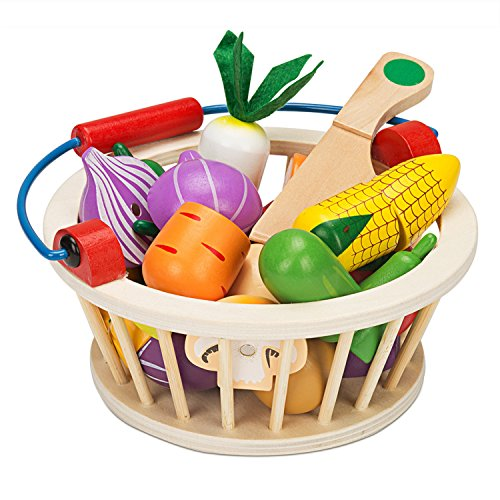 Victostar Magnetic Wooden Cutting Fruits Vegetables Food Play Toy Set with Basket