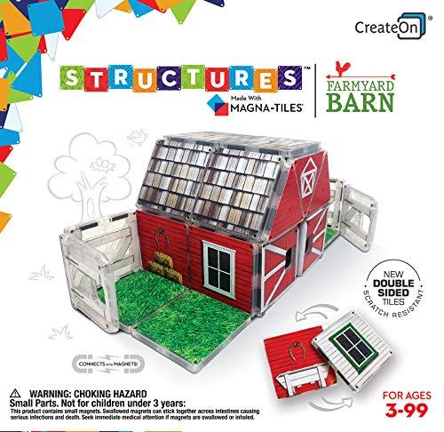 CreateOn Farmyard Barn Magna-Tile Structure Set