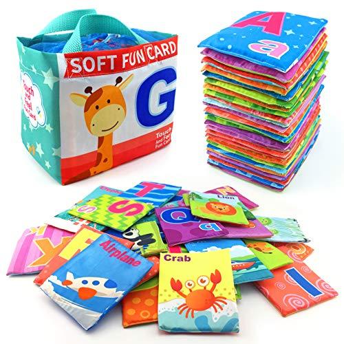 26 Pieces Soft Alphabet Cards with Cloth Storage Bag
