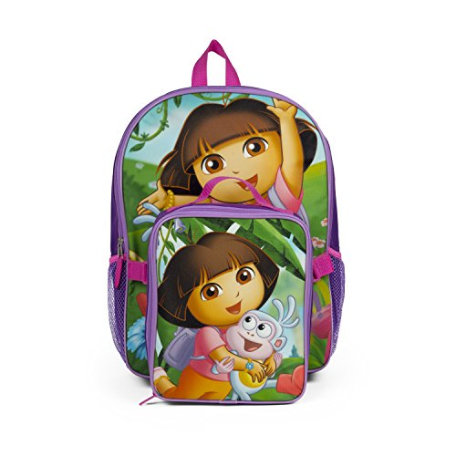 Nickelodeon Dora the Explorer Purple Backpack with Insulated Lunch Kit (Best Quality Option)
