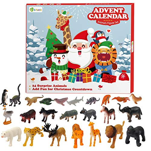 D-FantiX Kids Animals Figures Toys Advent Calendar 2020 Realistic Animal Figurine