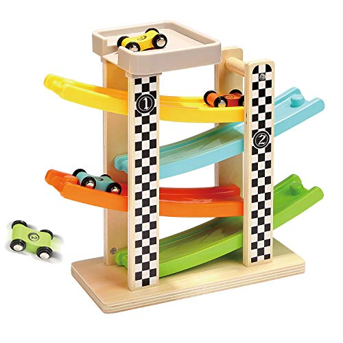 TOP BRIGHT Wooden Race Track Car Ramp Racer With 4 Mini Cars (Best Eco-Friendly Option)