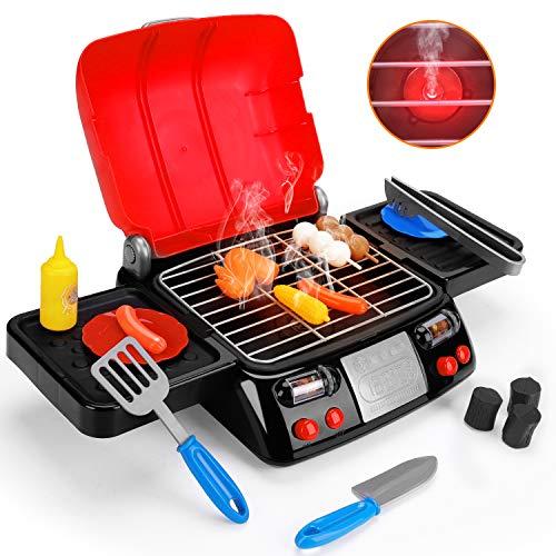 Kids Play Food Grill with Pretend Smoke Sound Light Kitchen Playset