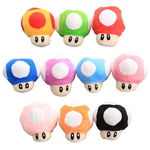 UiUoU Super Mario Bros. 10pcs Mushroom Plush Keychain Decoration Pendant Doll Toy Set 6cm