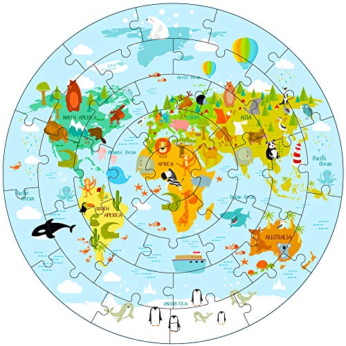 iPlay, iLearn Kids Wooden World Map Jigsaw Puzzles