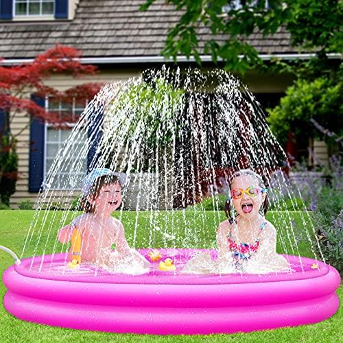 Inflatable Kiddie Pool with Sprinkler for Toddlers