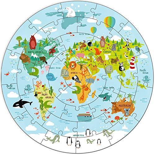 iPlay, iLearn Kids Wooden World Map Jigsaw Puzzles