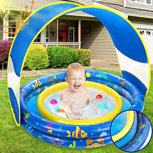 Inflatable Baby Pool, Annular Kiddie Pool with Removable Sunshade Canopy