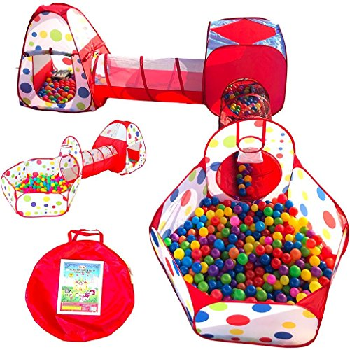 Playz 5-Piece Kids Play Tents Crawl Tunnels and Ball Pit